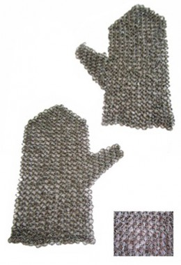 Chain mesh for mittens - round rings 9mm, fully riveted (round rivet)
