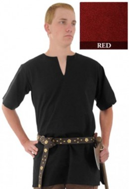 Medieval Tunic made from Handwoven Cotton, Red