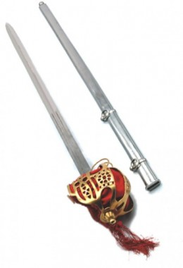 Scottish wide sword with brass basket and steel sheath